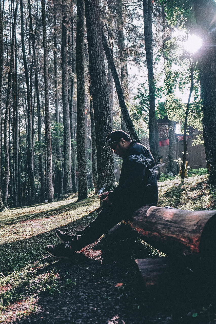 tree, tree trunk, one person, forest, leisure activity, nature, day, full length, outdoors, real people, lifestyles, growth, sunlight, people