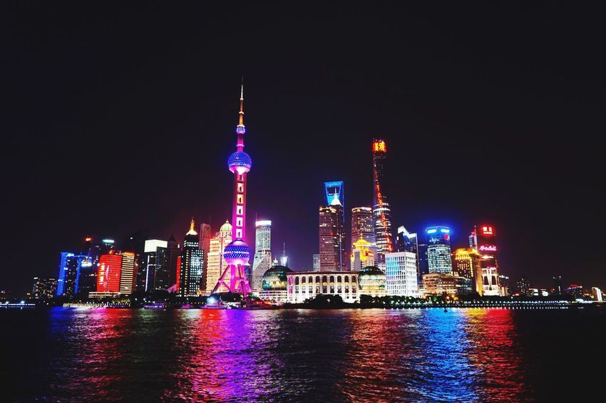 Shanghai, the 'Monstrous City'. Architecture Night Scenes ASIA Pudong China River Shanghai The Bund
