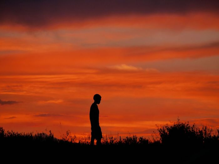 Sunset silhouette. Check This Out Contemplating Life Solitude Orange Sunset Cloudporn Orange Sky Clouds And Sky Zen Person Silhouette Sunset Silhouettes Boulder County Colorado Sunset Beautiful Nature Sunset Porn Panasonic Lumix Dmc-gx85 Cloudscape Colorado No Filter, No Edit, Just Photography Colour Of Life