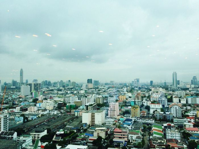 Rain come 32 Floor AIA Capital Center Ratchadapisek Rain Coming Cloudy Sky Landscape View Of Bangkok Far Morning Ascend Thailand Office