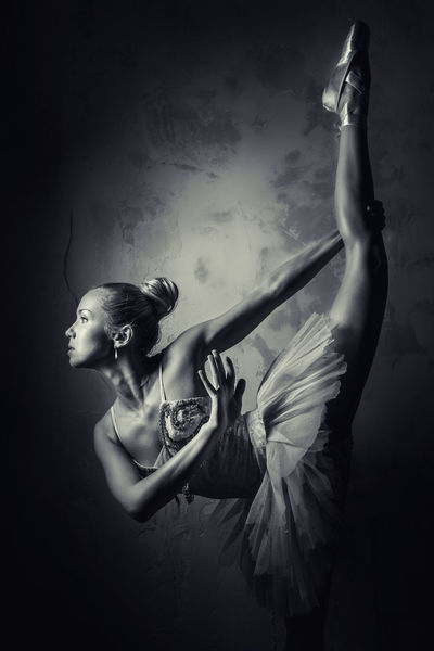 Lovely ballerina in yellow tutu Alone Artist Attractive Female Balance Ballerina Ballet Ballet Dancer Ballet Tutu Beautiful Woman Black And White Blonde Caucasian Choreography Elegant Exercise Flexibility People Performance Pirouette Pose Professional Dancer Slim Studio Shot Woman Young Adult