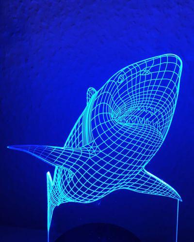Shark Hai Blue Light Blaues Licht Schematic Raster Lines Linien 3D Jaws Great White Shark