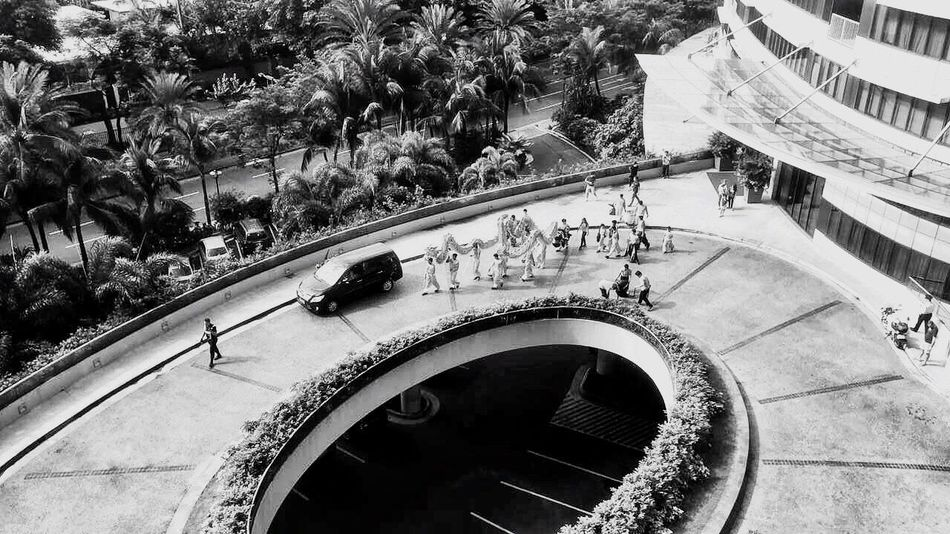 High Angle View Architecture Swimming Pool Built Structure Tree Water Growth Day Real People Outdoors Makati EyeEm The Best Shots Philippines Chinese New Year Dragon Dance IPhoneography EyeEm Best Edits My Smartphone Life Spring Festival Monochrome Bnw Blackandwhite Architecture City People