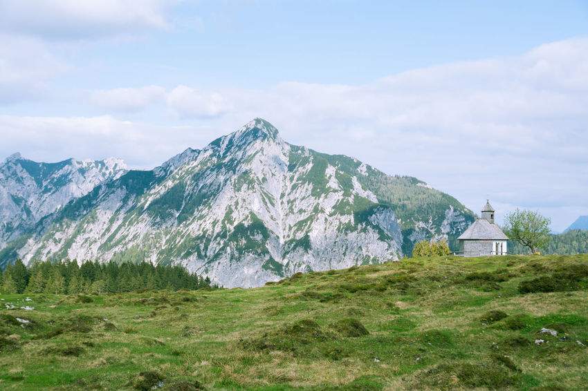 Austria Beauty In Nature Chapel Cloud - Sky Grass Hiking Hikingadventures Landscape Landscape_Collection Mountain Mountain Peak Mountain Range Mountains Nature Nikon Nikonphotography No People Outdoors Salzkammergut Scenics Sky Streamzoofamily Tranquil Scene Tranquil Scene Outdoors Tranquility Live For The Story BYOPaper! The Great Outdoors - 2017 EyeEm Awards Sommergefühle Breathing Space Your Ticket To Europe Been There. Perspectives On Nature