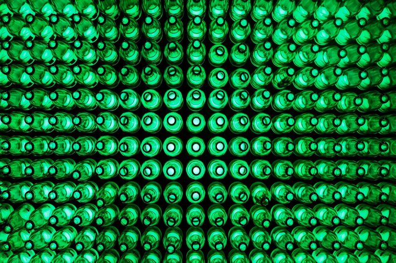 Evergreen Beer Backgrounds Full Frame Pattern No People In A Row Number Indoors  Green Color Technology Close-up Side By Side Repetition Textured  Connection Blue Order Design Abundance Arrangement Low Angle View