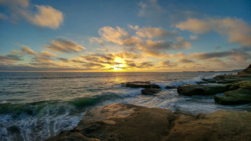 Ocean Beach San Diego Sunset Beach Beauty In Nature Cloud - Sky Horizon Horizon Over Water Land Motion Nature No People Outdoors Rock Rock - Object Rocky Coastline Scenics - Nature Sea Sky Solid Sunset Tranquil Scene Tranquility Water Wave