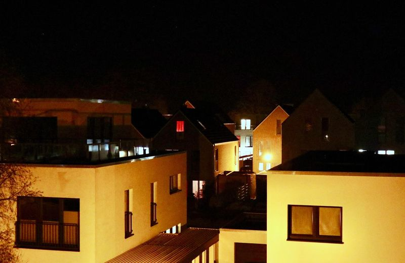 Siedlung Houses Night Architecture Building Exterior Built Structure Building Illuminated City