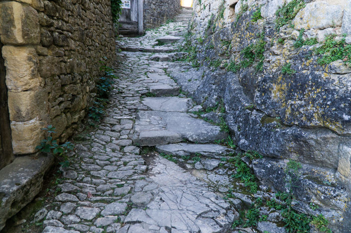 Streets of Beynac-et-Cazenac, France, a medieval town below Beynac castle. Beauty In Nature Beynac-et-Cazenac Cobblestone Day Footpath Growth Nature No People Outdoors Stairs Stone The Way Forward