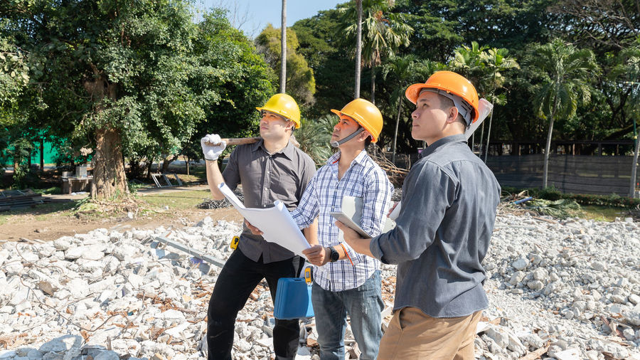 Group of people at construction site