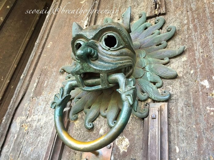 900 year old sanctuary knocker, grab the bronze ring and you're safe for 37 days! Check This Out IPhoneography Churches Doors Door Knocker Sanctuary  Medieval Bronze Gargoyle Celtic