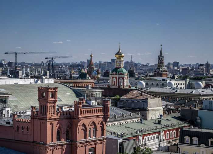 High angle view of buildings in city of moscow
