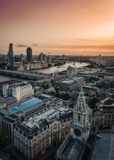 High angle view of buildings in london city during sunset