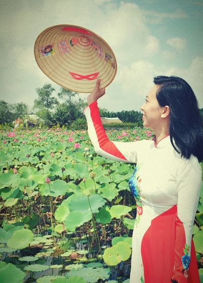 Lotus Lotus Flower Lotus Lake People Summer Women AodaiVietNam ❤️ Aodai Longdress AoDaiVietnam Lotus♥ One Woman Only One Person