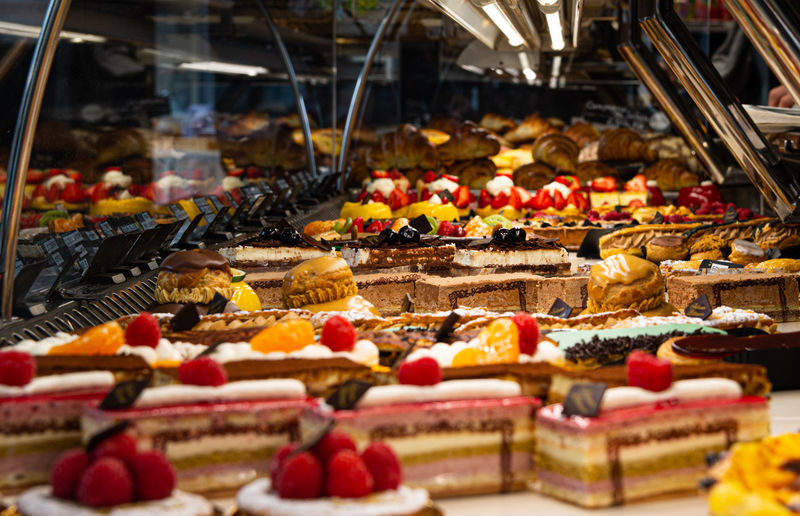 Various desserts for sale in store