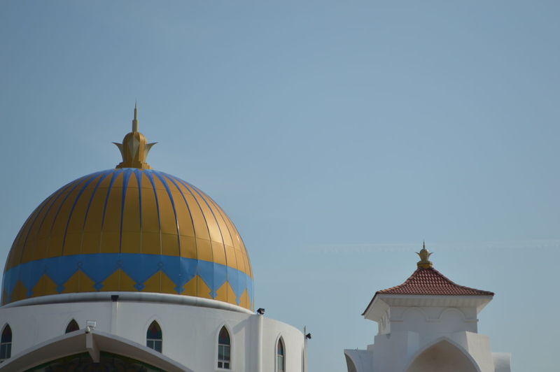 Architectural Feature Architecture Blue Building Exterior Built Structure Day Dome High Section Low Angle View No People Outdoors Part Of Place Of Worship Religion Sky Spirituality Tourism Travel Destinations Mosque Muslim Malaysia