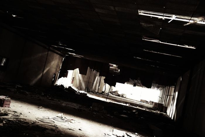 INDUSTRIAL DUNGEON Dark Decay Destruction Empty Places Industrial Ruins Spooky House Abandoned Abandoned Building Architecture Black And White Built Structure Car Cemetery Ceiling Collapse Damaged Building Deep View Deserted Places Factory High Angle View Indoors  Light Beams Long Building No People Past Glory Rotated