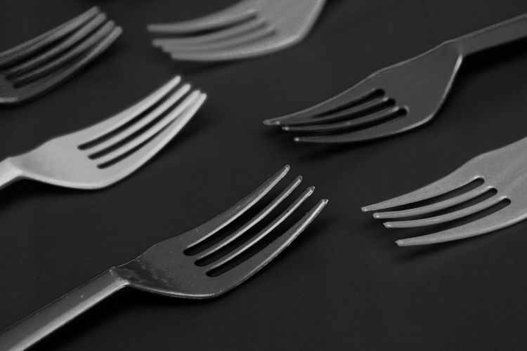 Close-up forks on table