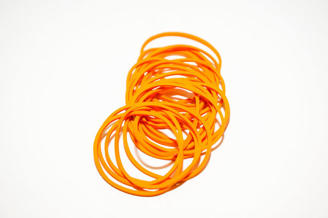 yellow rubber band isolated on white Close-up Food Freshness No People Spiral Studio Shot Swirl White Background Yellow