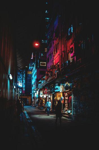 City Illuminated Neon Nightlife City Life Building Exterior Architecture Built Structure