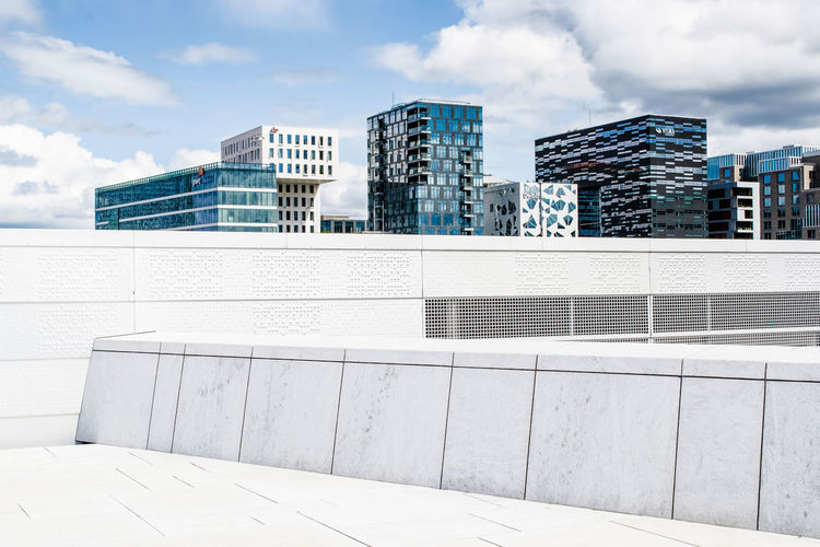 Building terrace against modern towers in city