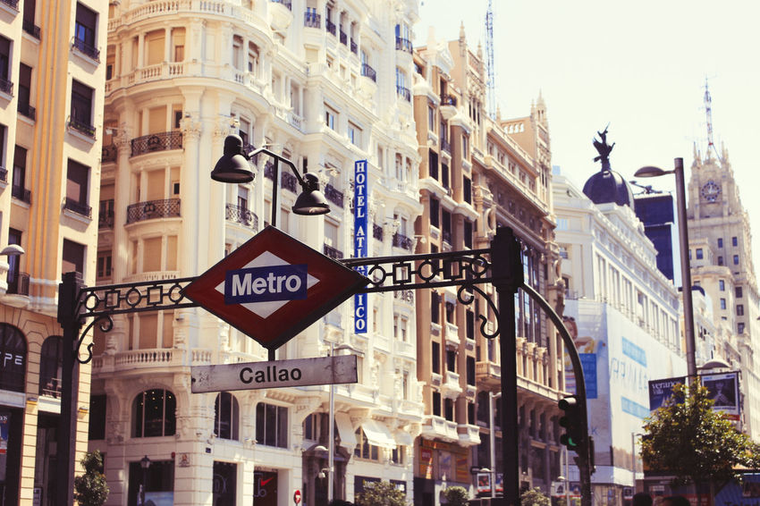 Architecture Building Exterior Built Structure Business Finance And Industry Callao Callao Madrid City City Life Day Downtown District Metro Metro Station No People Outdoors Photography Road Sign Travel Travel Destinations Underground Vintage