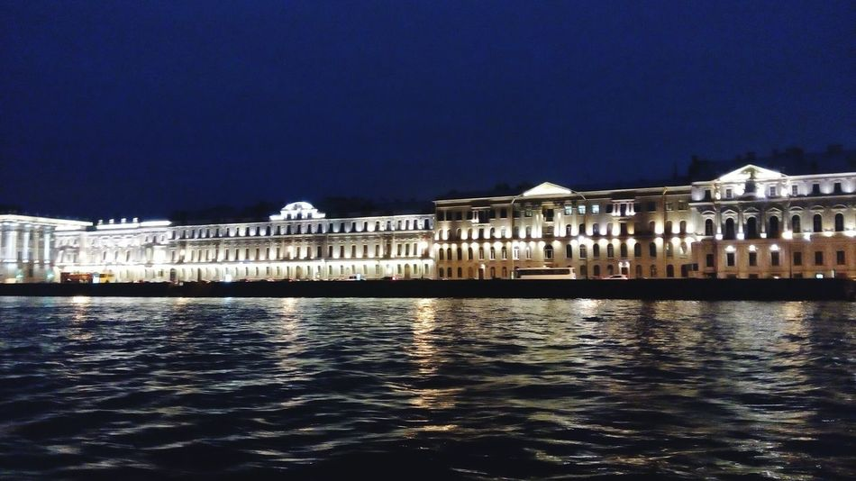 Architecture Night Building Exterior Built Structure Illuminated Water Outdoors No People Travel Destinations Sky Politics And Government City Spb Stpetersburg Spb_live Nightlife Fires Light River Reflection Building Buildings Blue Sky