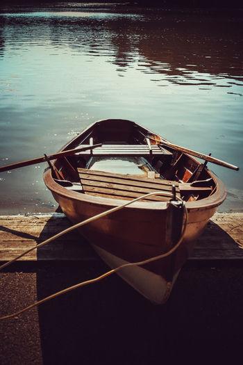 High angle view of boat moored at lake