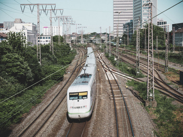 Train on railroad tracks in city - intercity express ice br 401