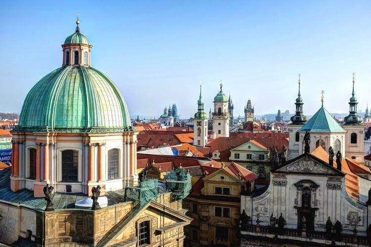 Prague Skyline Praha Prague Skyline Architecture Clock Tower Cityscape
