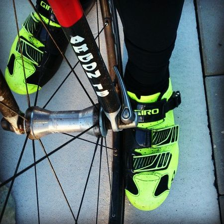 My Fav Giro shoes just love them, can't stop staring at them! Cyclingbc match the dEVo kit! :-)