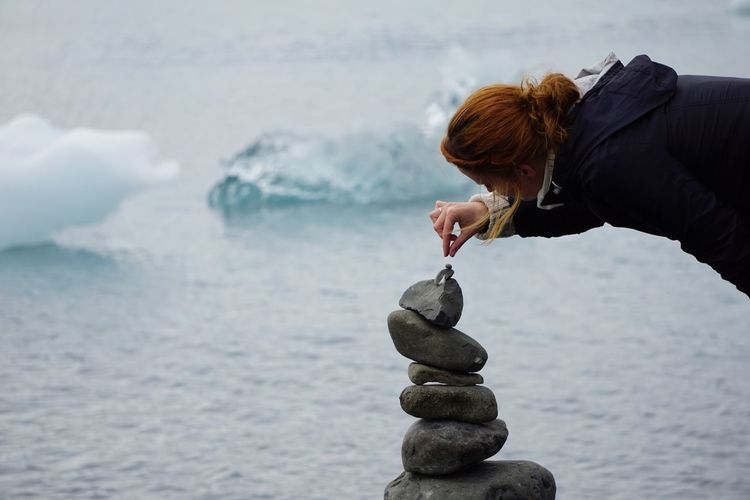 Day Glacier Lagoon Iceberg Iceland Nature One Person One Woman Only Outdoors People Rock - Object Sea Water