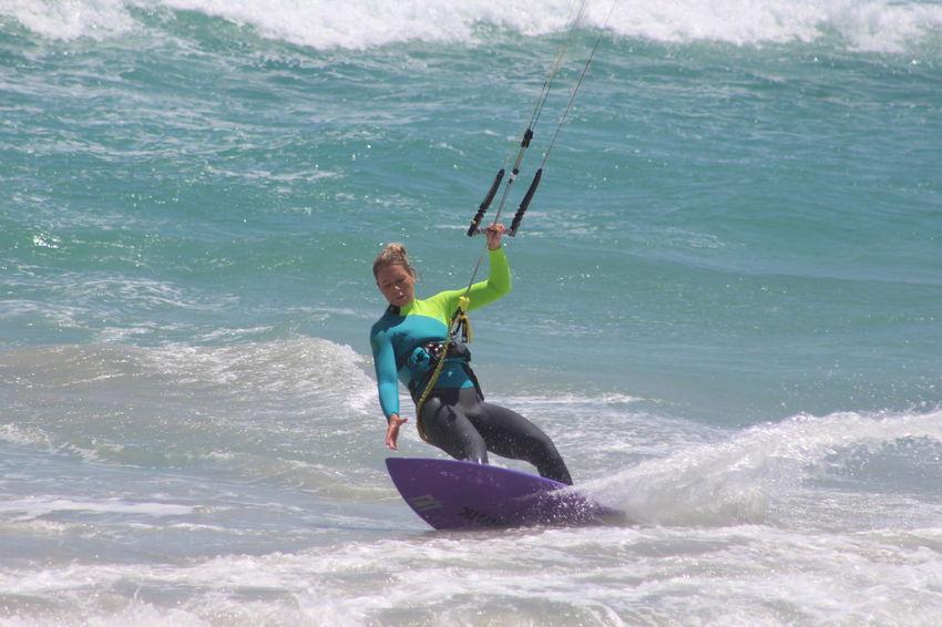 Blouberg Bloubergbeach Cape Town Girl Kiteboard Kiteboarding Real People Recreational Pursuit Seascape Girl Power