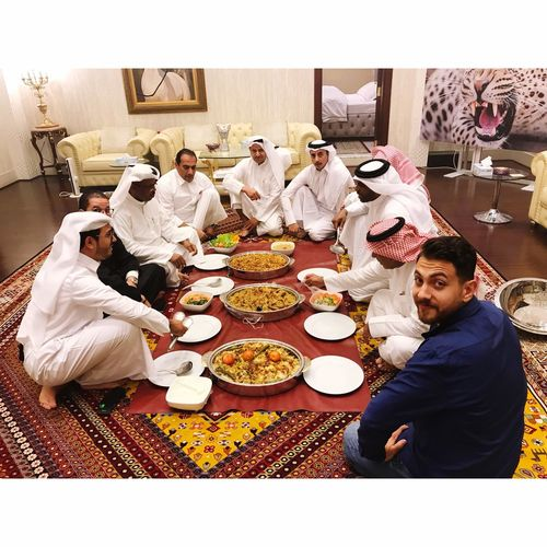 Food Table High Angle View Group Of People Men Young Adult Togetherness