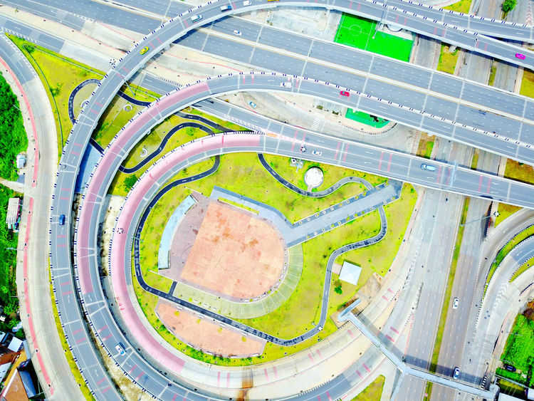 Aerial Shot Drone  High Way Road Aerial View Architecture Curve Day High Angle View Indoors  No People Soccer Sport Stadium Top View