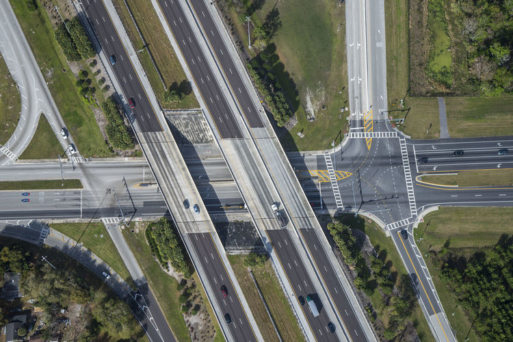High angle view of highways over field