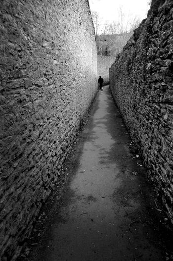 Alleyway Black & White Day Footpath Lone Figure Outdoors Stone Walls The Way Forward Vanishing Point Wide Angle Urban Landscape Black And White Friday