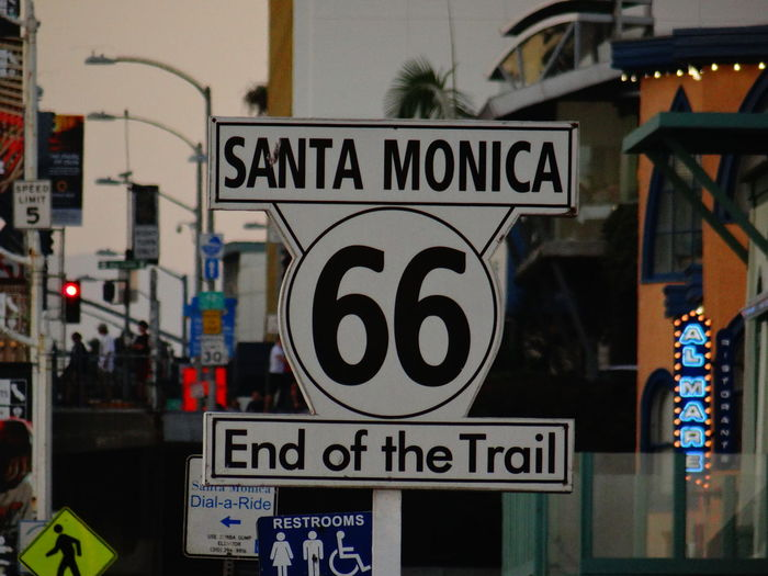 Route 66 sign in santa monica