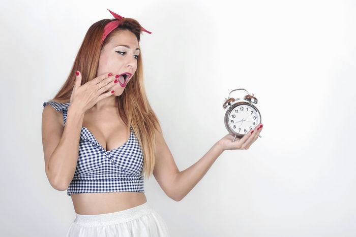 AlarmClock Beautiful Countdown Happiness Alarm Clock Alarm Clock -.- Alert Beautiful Woman Beauty Clock Concept Expression People Pin Up Girl Portrait Sexygirl Surprise Time White Background