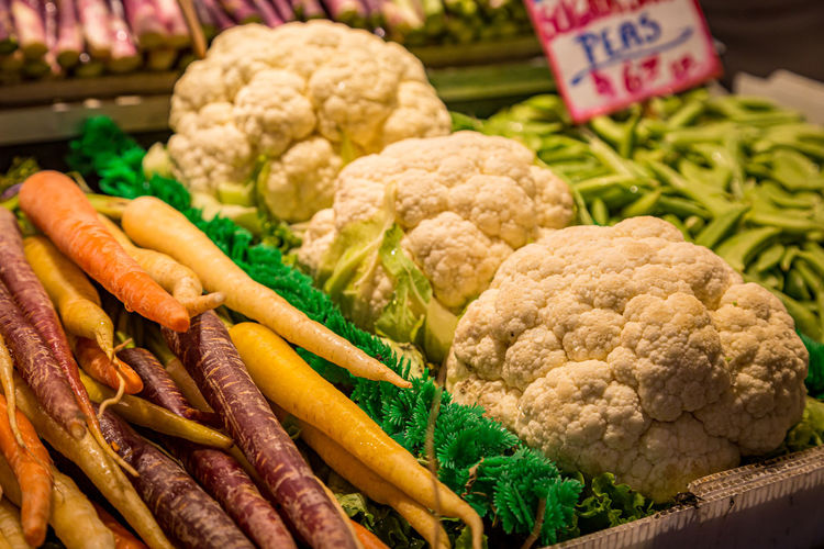 Close-up of fresh vegetables in market stall