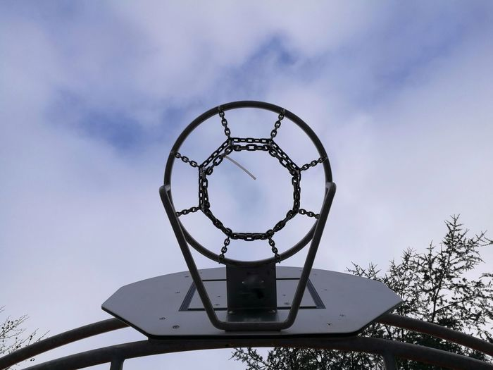 Directly below shot of basketball hoop at playground against sky