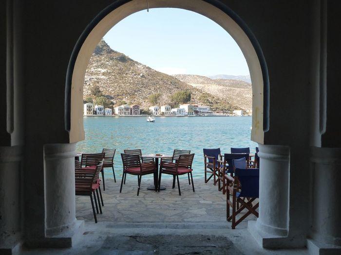 Through The Window Through The Arch Castellorizo My Beautiful Island, Castellorizo On The Edge Of The Aegean Boats Boat Sea Cafe Greece GREECE ♥♥ Seascape Landscape Boats⛵️ Kastellorizo