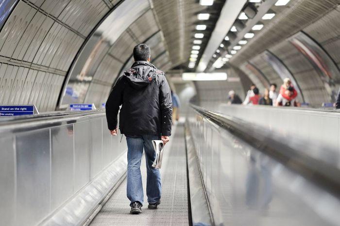 Rear View Walking Subway Station One Person Men Passenger Travel Standing London Waterloo Waterloo Station