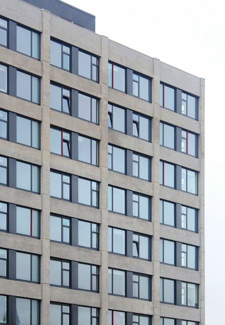 Architecture Building Exterior Built Structure Block Shape Clear Sky Balcony No People Day Sky Windows Apartment Building Concrete Concrete Building Brutalism Pattern Pattern, Texture, Shape And Form Leeds, UK