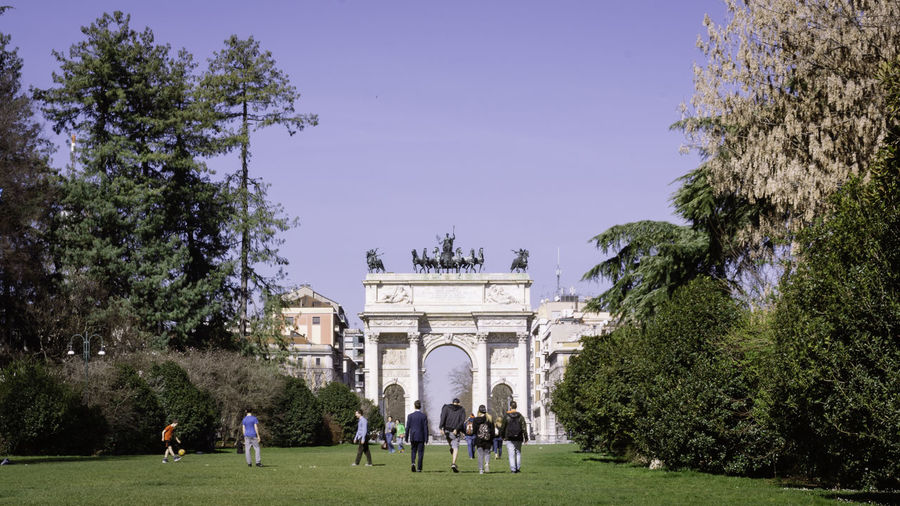 Adult Adults Only Architecture Arco Della Pace City Gate Clear Sky Day Large Group Of People Milan Milano Monument Outdoors Parco Sempione People Sky Spring Statue Tourist Travel Destinations Tree Triumphal Arch