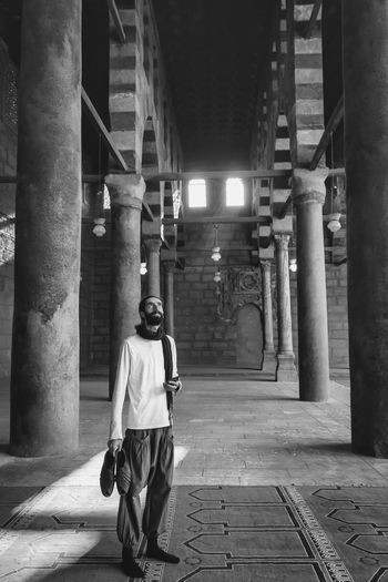 Built Structure Architecture Cairo Egypt Travel Destinations Tourism Vacations Awe Ancient Structures Blackandwhite Rear View Architectural Column One Person Real People Full Length Lifestyles Walking Building Illuminated The Way Forward Men Casual Clothing Direction City Leisure Activity Building Exterior Street Outdoors Colonnade It's About The Journey 2018 In One Photograph
