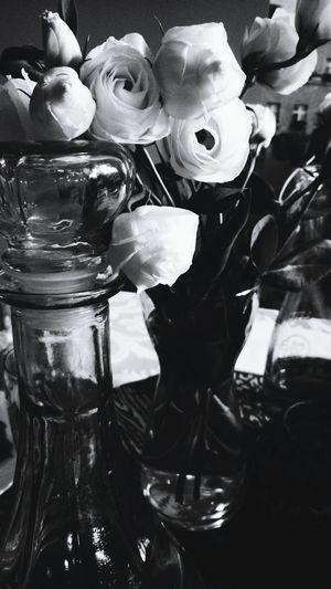 Blackandwhite Photography Flowers_collection White Roses In A Restaurant Cristal Jar Water Restauracja Olenka