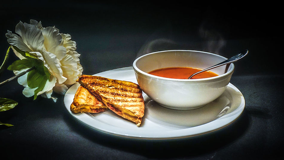 Grilled cheese and Tomato soup Close-up Flower Food And Drink Grilled Cheese Healthy Eating Hot Soup Ready-to-eat Tomato Soup And Grilled Cheese