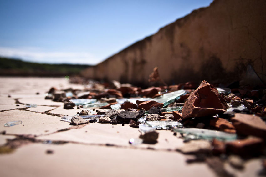 Beach Close-up Day Debris Glass - Material Macro Nature No People Outdoors Pavement Stone Bricks Sardegna Sea And Sky Seascape Selective Focus Selective Focusing Sky