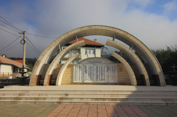 The Ahmici Massacre Memorial with the name of 116 victims engraved on it. Ahmici Massacre Memorial Ahmici Village Ahmici Massacre Balkan Bosnia War Bosnia And Herzegovina Croatian Defence Council (HVO) Memorial Lasva Valley Ethnic Cleansing