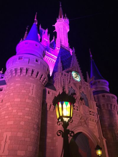 It's like a dream! A wonderful dream! Clock Cinderellas Castle Night Architecture Low Angle View Illuminated Building Exterior Built Structure History